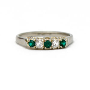 White Gold Ring With Synthetic Emeralds